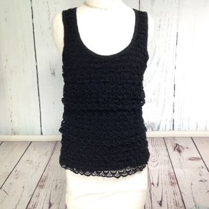 J. Crew Crochet Loop Tank - Black - XS